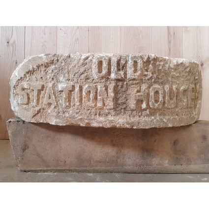 Reclaimed (Sandstone) Carved Stone 'OLD STATION HOUSE' (CDC-CARVEDSTONE)
