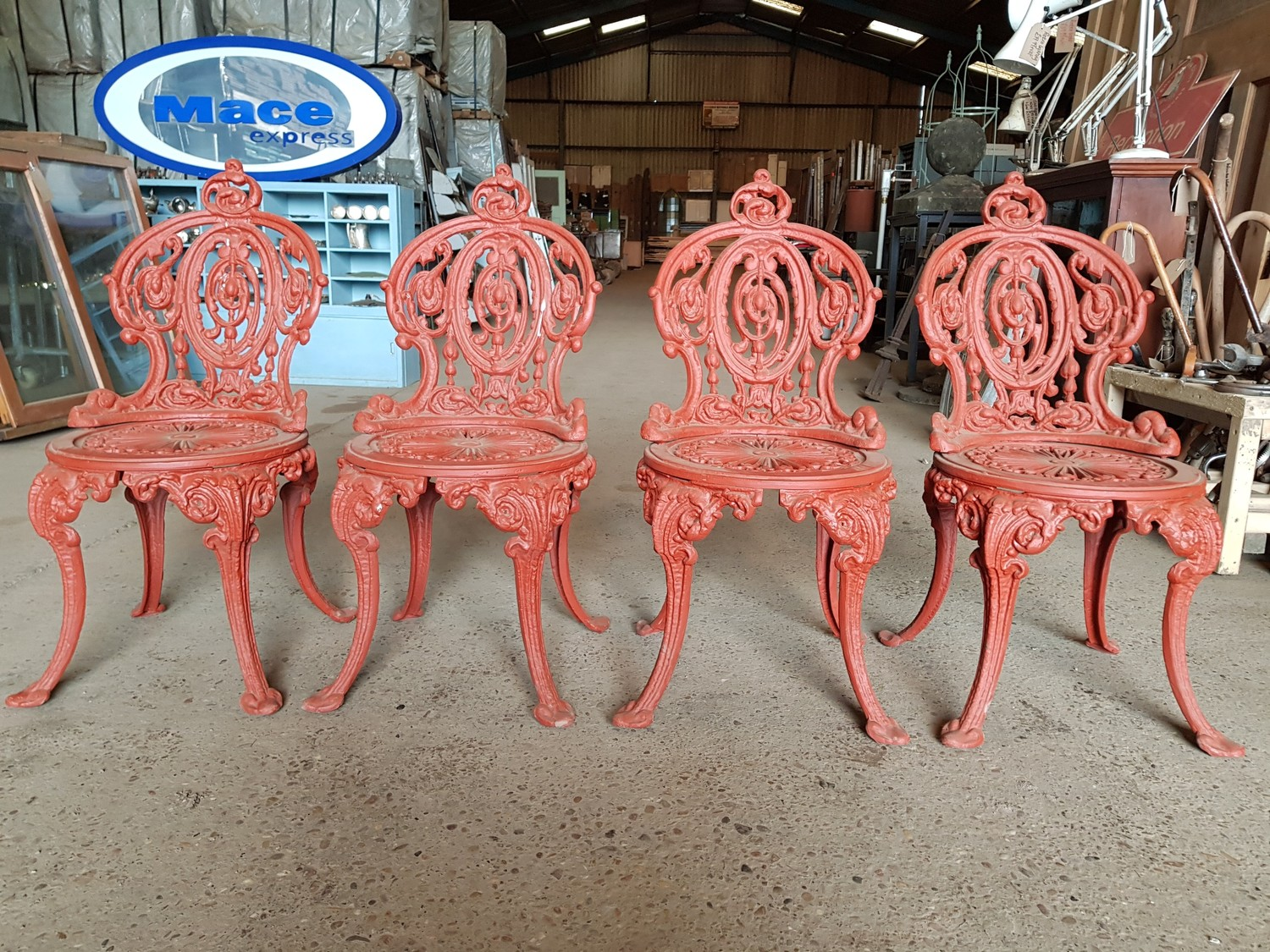 Reclaimed Victorian Cast Iron Garden Chairs Set of 11