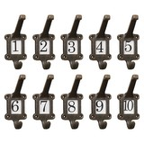 10 x Old School Style cast iron hooks with  numbers 1 - 10 ceramic inserts included